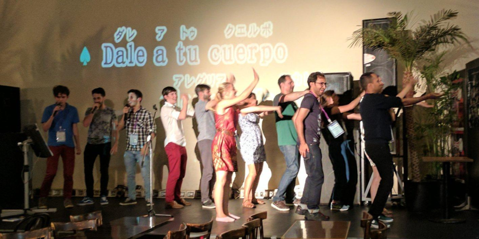 Students dancing at the Karaoke Stage